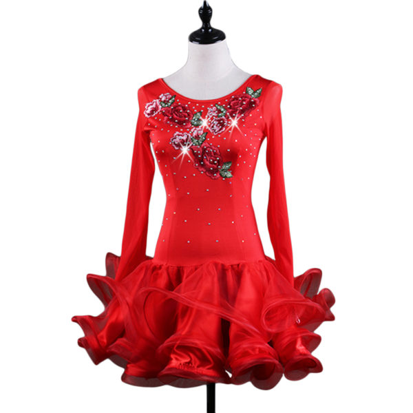 Embroidery Latin Dance Professional Competition Dress Mesh Long Sleeve Dress New Latin Dancing Stage Performance Costume 1 600x600 - Latein Tanzkleid Rusea rot